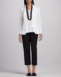 Eileen Fisher Open Slub Cardigan, Long Jersey Tank & Slim Twill Ankle Pants, Petite