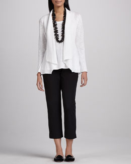 Eileen Fisher Open Slub Cardigan, Long Jersey Tank & Slim Twill Ankle Pants, Women's