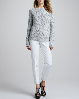 Theory Fretta Knit Sweater & Belisa Stretch-Twill Pants