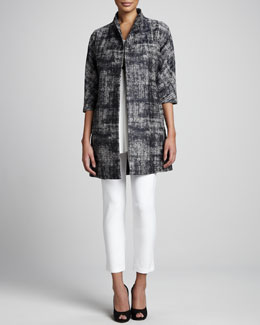 Eileen Fisher Illusion Jacquard Coat, Silk Jersey Tunic & Washable Stretch-Crepe Ankle Pants, Petite