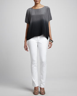 Eileen Fisher Ombre Wedge Silk Top & Stretch Twill Jeans, Petite