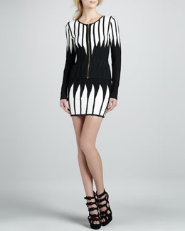 Herve Leger Strapless Bandage Dress & Zip-Front Jacket