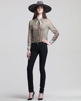 Saint Laurent Babycat Silk Top & Low-Rise Skinny Jeans