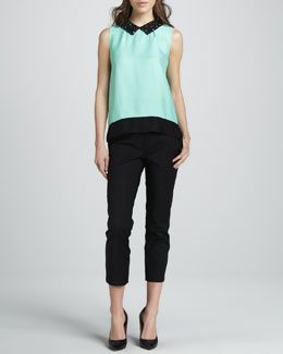 kate spade new york harlow bead-collar top & davis capri pants