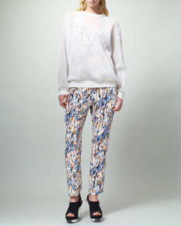 Stella McCartney Sheer Sweatshirt, Printed Racerback Tank & Harem Pants