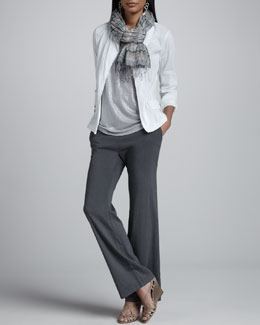 Eileen Fisher Stand Collar Jacket, Shimmer Shell, Straight-Leg Trousers & Striped Puckered Scarf