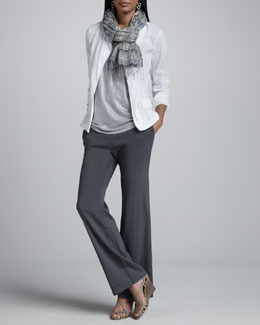 Eileen Fisher Stand Collar Jacket, Shimmer Shell, Straight-Leg Trousers & Striped Puckered Scarf, Women's