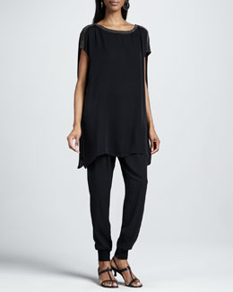 Eileen Fisher Floaty Long Boxy Tunic & Silk Georgette Ankle Pants