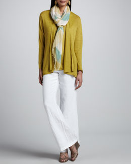 Eileen Fisher Linen Flutter Cardigan, Linen-Jersey Tank, Heavy Linen Trousers & Air Striped Scarf