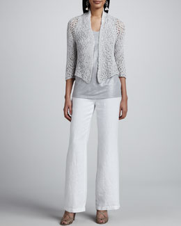 Eileen Fisher Chain Mail Mesh Cardigan, Shimmer Sleeveless Shell & Heavy Linen Trousers