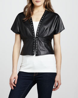 Grayse Cropped Leather Jacket & Mezzo Grid Tank