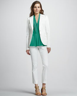 Rachel Zoe Bryce High-Collar Jacket, Vanessa Pleated Top & Ian Cigarette Pants
