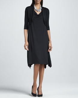 Eileen Fisher Crinkle Half-Sleeve Knit Shrug & Cowl-Neck Dress