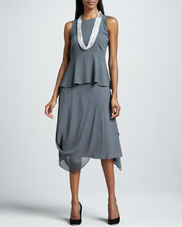 Eileen Fisher Silk Peplum Top & Draped Sheer Skirt