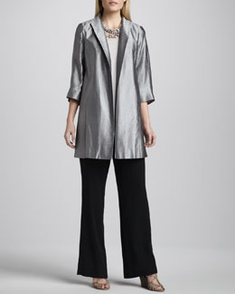 Eileen Fisher Jacquard Funnel-Neck Jacket, Silk Jersey Tank & Georgette Pants