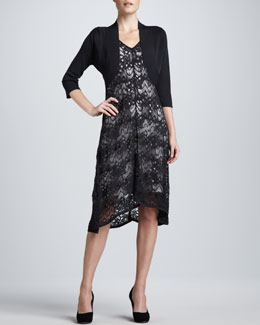 Eileen Fisher Crinkle Knit Shrug & Lace Dress