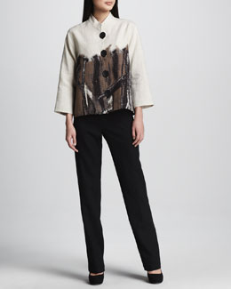 Caroline Rose Nature Border Linen Jacket & Linen Pants, Women's