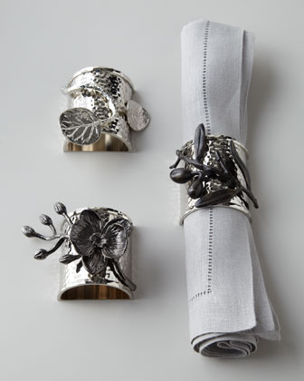 Botanical Leaf, Olive Branch, & Black Orchid Napkin Rings