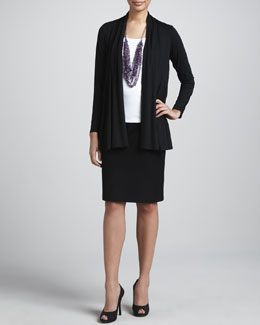 Eileen Fisher Flutter Cardigan, Slim Tank & Crepe Pencil Skirt
