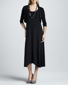 Eileen Fisher Sleeveless Jersey Dress & Crinkle Half-Sleeve Shrug, Women's