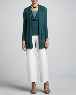 Eileen Fisher Polished Linen Cardigan, Ribbed Racerback Tank & Wide-Leg Pants, Women's