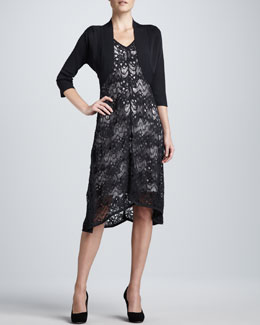 Eileen Fisher Crinkle Knit Shrug & Lace Dress, Women's