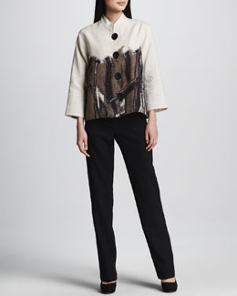 Caroline Rose Nature Border Linen Jacket & Linen Pants