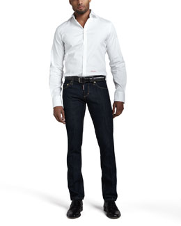 DSquared2 Stretch-Poplin Logo Shirt & Slim Indigo Jeans