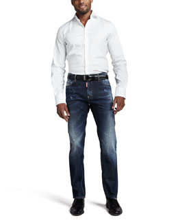 DSquared2 Stretch-Poplin Logo Shirt & Fluorescent-Tab Straight Jeans