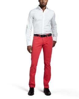 DSquared2 Stretch-Poplin Logo Shirt & Slim Coral Jeans