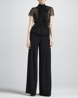 Oscar de la Renta Ruffled Tulle Blouse & Wide-Leg Side-Zip Pants