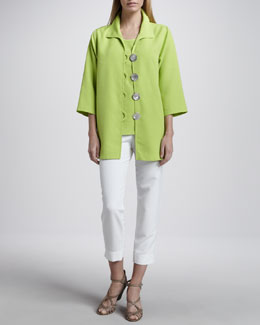 Caroline Rose Shantung Big-Button Jacket, Tank & Slim Capris, Petite