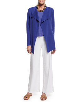 Eileen Fisher Open Interlock Cardigan, Silk-Jersey Tank & Washable-Crepe Wide-Leg Pants