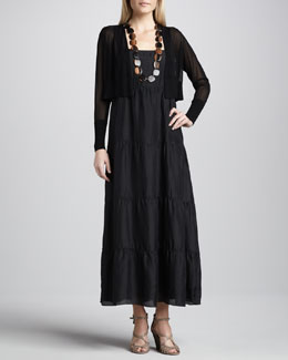 Eileen Fisher Sheer Cropped Cardigan & Silk Tiered Dress