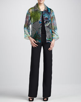 Caroline Rose Sheer-Organza Easy Jacket, Silk Crepe Tank & Straight-Leg Silk Crepe Pants, Petite