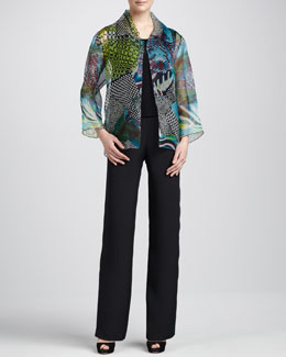 Caroline Rose Sheer-Organza Easy Jacket, Silk Crepe Tank & Straight-Leg Silk Crepe Pants, Women's