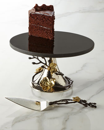 Gold Orchid Cake Stand & Server
