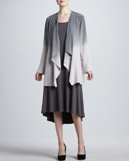 Eileen Fisher Ombre Draped Long Silk Jacket & Calf-Length Jersey Dress