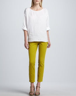 Eileen Fisher Rolled-Sleeve Linen Top & Skinny Organic-Cotton Ankle Jeans
