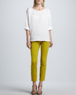 Eileen Fisher Rolled-Sleeve Linen Top & Skinny Organic-Cotton Ankle Jeans, Women's