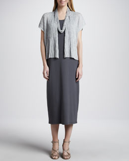 Eileen Fisher Crinkle Cropped Cardigan, Sleeveless Jersey Long Dress & Drapey Metallic Necklace