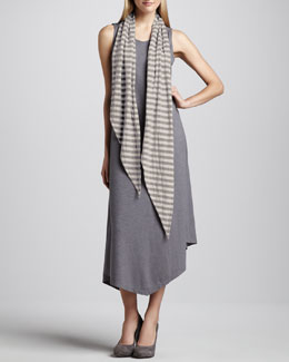 Eileen Fisher Handkerchief-Hem Slub Dress & Striped Double-Knit Scarf