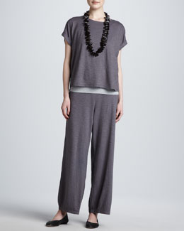Eileen Fisher Cropped Boxy Top, Organic Cotton Slim Tank & Lantern Ankle Pants