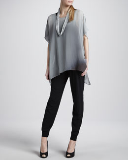 Eileen Fisher Watercolor Sheer Tunic, Drapey Metallic Necklace & Cuffed Silk Georgette Pants, Women's
