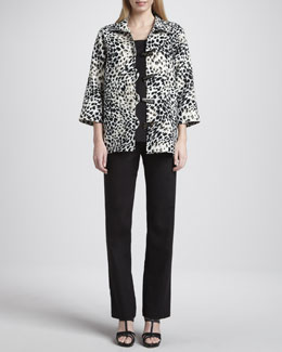Caroline Rose Animal-Print Linen Jacket, Long Tank & Straight-Leg Pants, Women's
