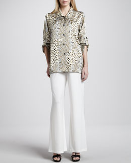 Caroline Rose Mirage Collage Silk Shirt & Stretch Wide-Leg Pants, Petite