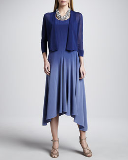 Eileen Fisher Gossamer Crepe Cardigan & Ombre Silk Long Dress