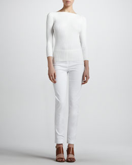 Michael Kors  Ribbed Boat-Neck Sweater & Relaxed Stretch-Twill Pants