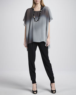 Eileen Fisher Watercolor Sheer Tunic, Silk Jersey Tank, Cuffed Silk Georgette Ankle Pants, Women's