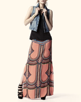 Current/Elliott Sleeveless Snap-Front Denim Jacket & Madge Tribal-Print Maxi Skirt
